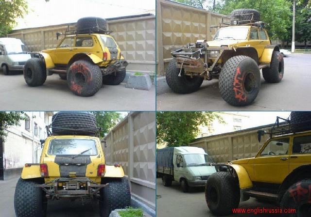 Russian SUV Niva as a bigfoot