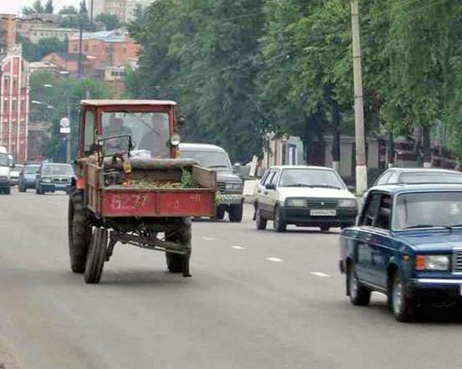 tractor on the moscow street