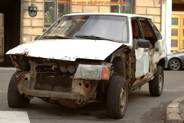 russian car lada in some weird appearance