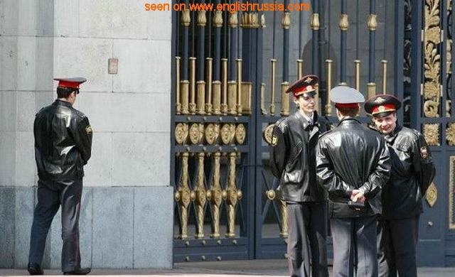 russian policemen, govermental building