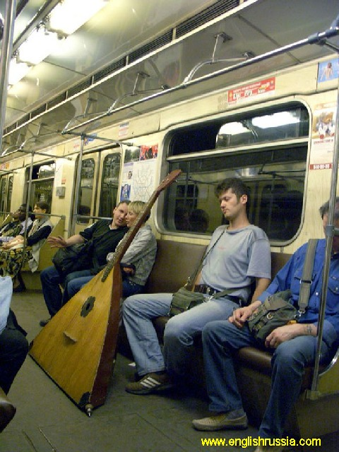 russian balalaika in moscow city subway