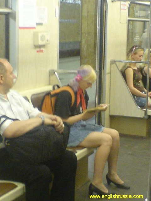 scout girl in russian moscow city subway