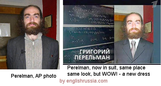 First channel of russia changed cloths of gregory perelman photo.