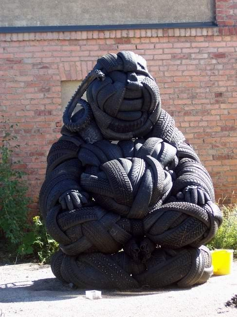 nice sculpture made solely from used tires