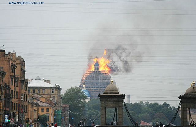 Troitsky Church in St.Petersburg is on fire